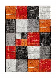 Rug 133 x 190 cm (wilton) - London Square (red/orange)