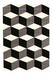 Rug 160 x 230 cm (wool) - Shiraz (grey/black/white)