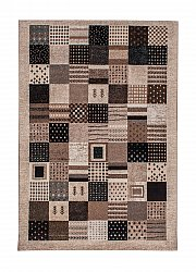 Rug 133 x 190 cm (wilton) - Ethno Square (brown/grey)