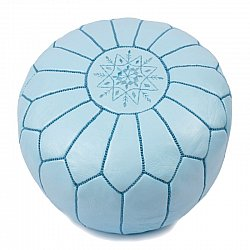 Pouf - Moroccan leather pouf (blue/turquoise)