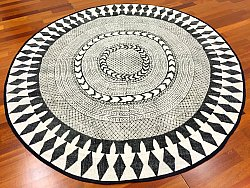 Rag rugs - Marrakech (round) (black/grey/white)