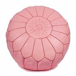 Pouf - Moroccan leather pouf (light pink)
