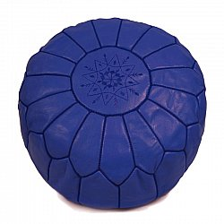 Pouf - Moroccan leather pouf (blue)