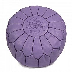 Pouf - Moroccan leather pouf (purple)
