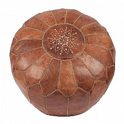 Pouf - Moroccan leather pouf (light brown)
