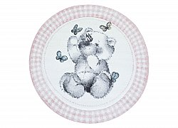 Childrens rugs - Atlas Teddybear Round (pink)
