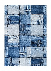 Rug 133 x 190 cm (wilton) - Indigo Denim Patch (blue)