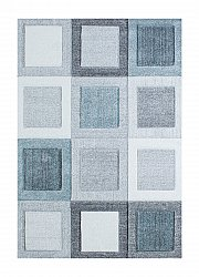 Rug 200 x 290 cm (wilton) - Indigo Square (blue/grey)