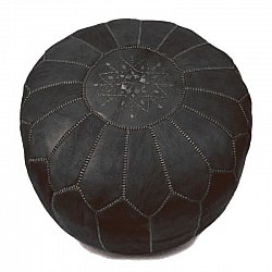 Pouf - Moroccan leather pouf (black)