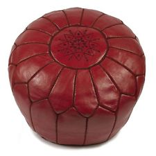 Pouf - Moroccan leather pouf (red)