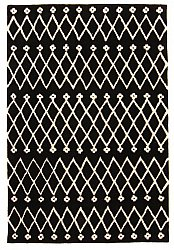 Rug 160 x 230 cm (wool) - Paleros (black/white)