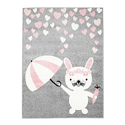 CHILDRENS RUGS rug for children room CHILDRENS RUGS for boy girl Bubble Rain grey Rabbit with umbrella