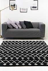 Rug 200 x 300 cm (wool) - Paleros (black/white)