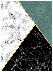 Wilton rug - Savino (black/white/green)
