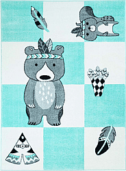 Childrens rugs - Bueno Indian Bear (turquoise)