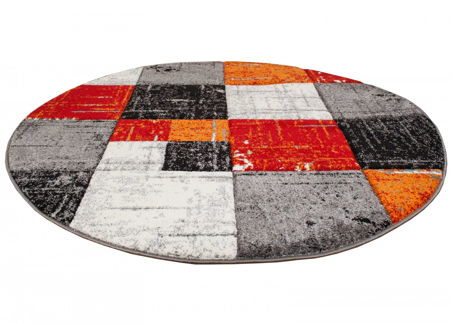 Round Rugs London Square Red Orange Round Rugs