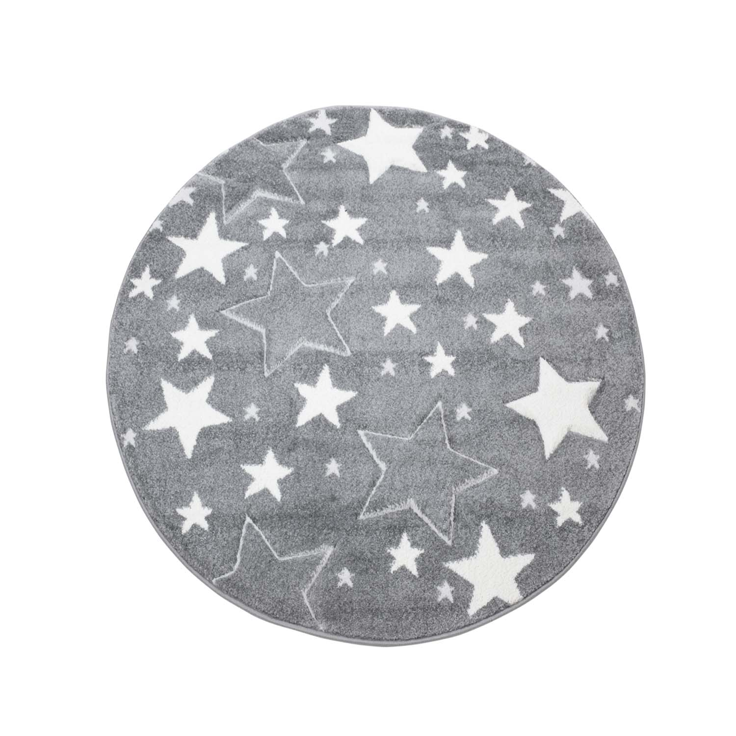 Childrens Rugs Bueno Stars Round Grey