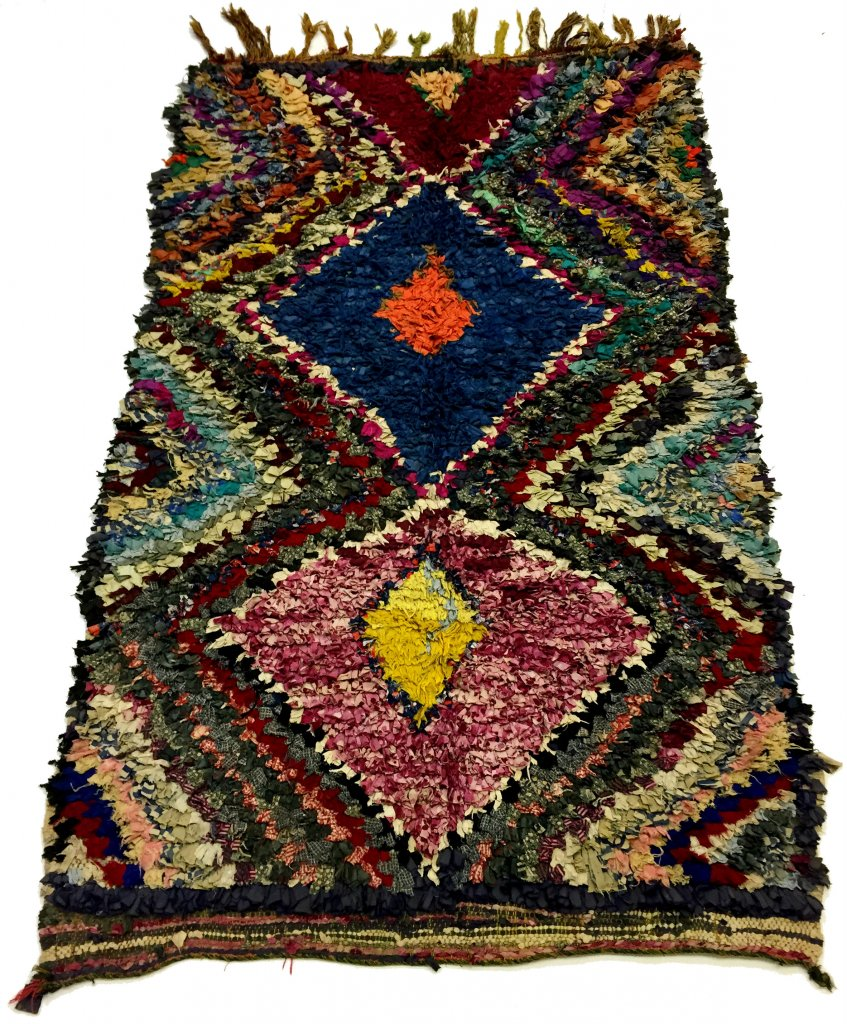 moroccan berber rug boucherouite 200 x 130 cm rag rug. Black Bedroom Furniture Sets. Home Design Ideas