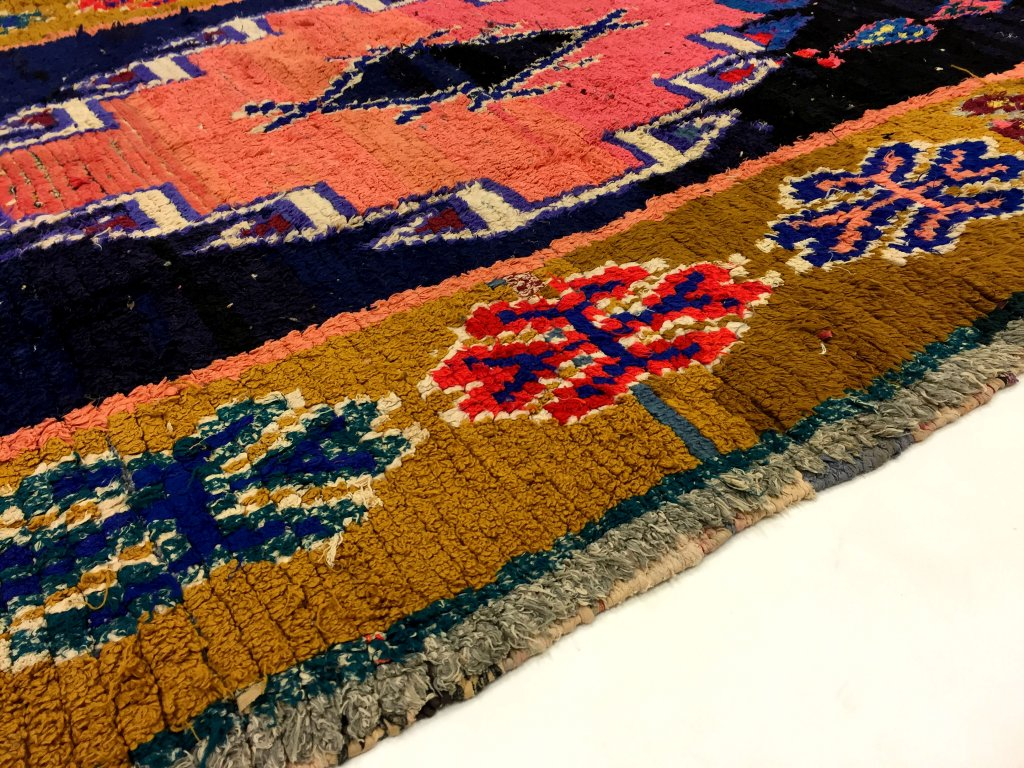 moroccan berber rug boucherouite 225 x 140 cm rag rugs. Black Bedroom Furniture Sets. Home Design Ideas