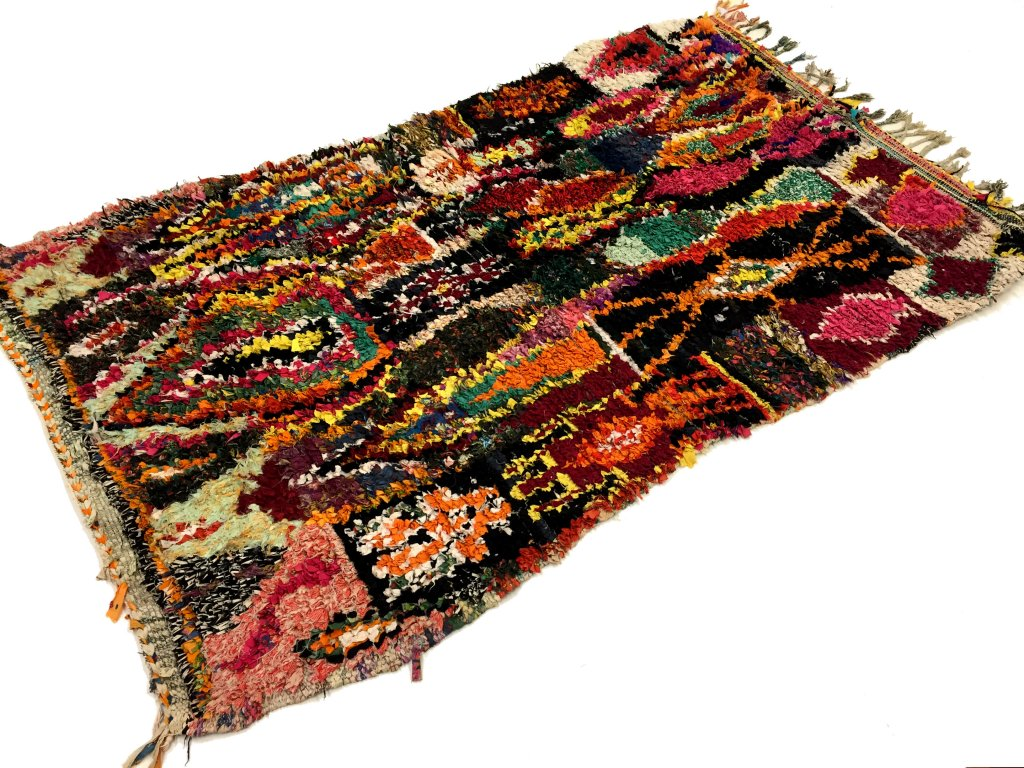 moroccan berber rug boucherouite 210 x 130 cm rag rugs. Black Bedroom Furniture Sets. Home Design Ideas