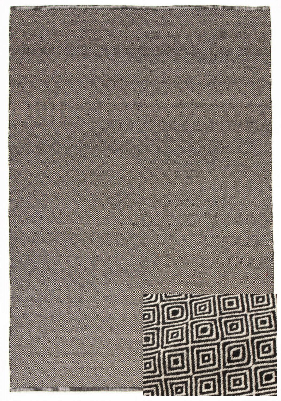 Wool rug varella black white for Black and white wool rug